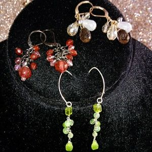 Set of 3 Stone earrings